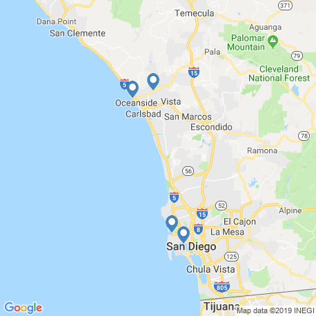 map of fishing charters in San Diego
