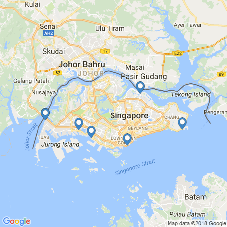 map of fishing charters in Singapur