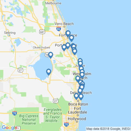 map of fishing charters in Jupiter