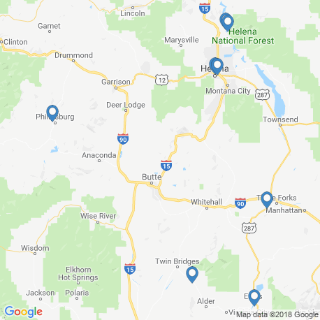 map of fishing charters in Montana