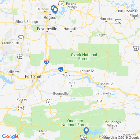 map of fishing charters in Arkansas