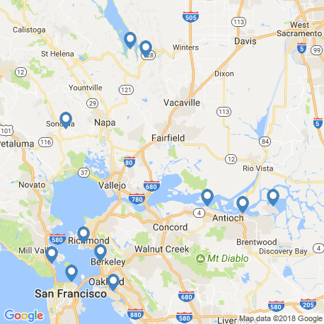 map of fishing charters in Napa