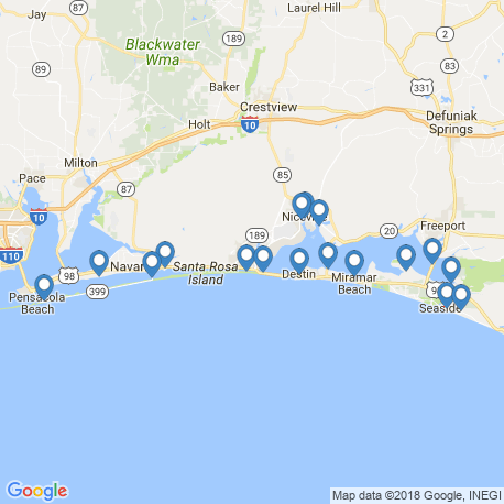 map of fishing charters in Destin