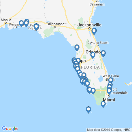 map of fishing charters in Florida