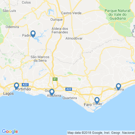 map of fishing charters in Albufeira