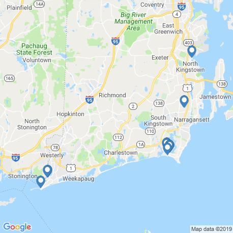 map of fishing charters in Rhode Island