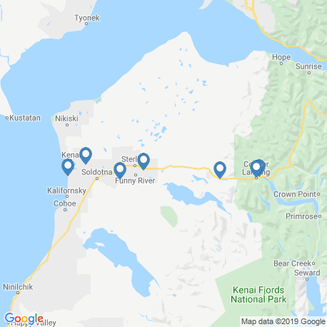 map of fishing charters in Kenai River