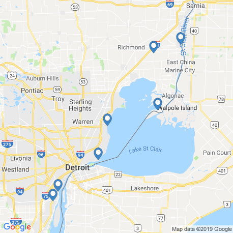 map of fishing charters in Harsens Island