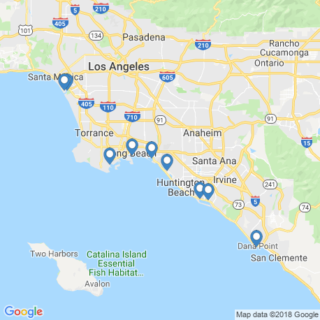 map of fishing charters in Long Beach