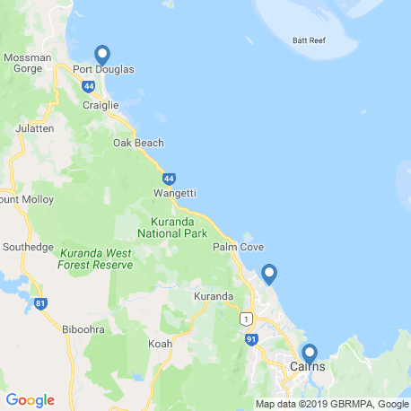 map of fishing charters in Port Douglas
