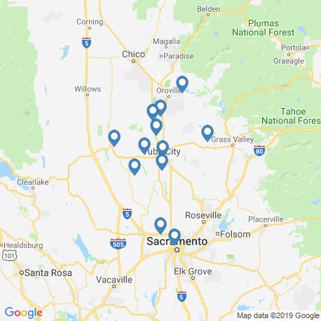 map of fishing charters in Yuba City
