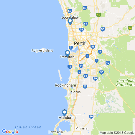 map of fishing charters in Fremantle