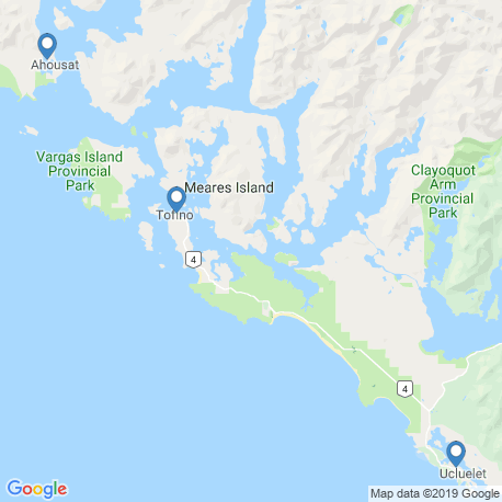 map of fishing charters in Tofino