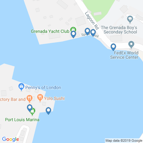 map of fishing charters in Grenada