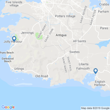 map of fishing charters in Jolly Harbour