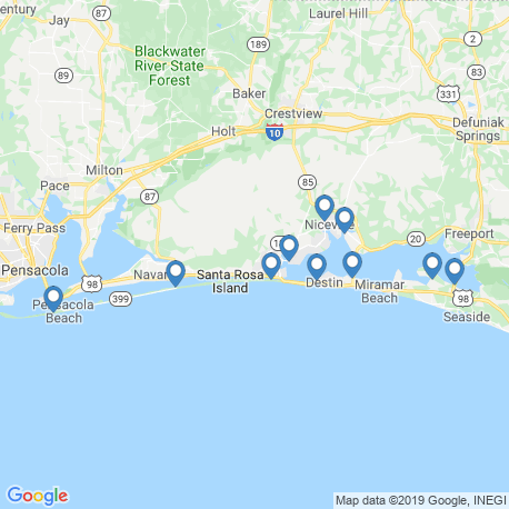 map of fishing charters in Shalimar