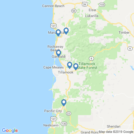 map of fishing charters in Garibaldi