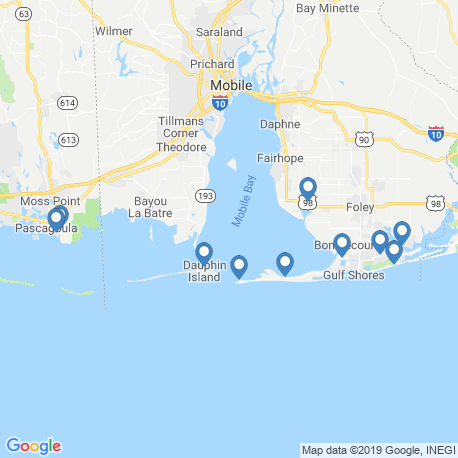 map of fishing charters in Mobile