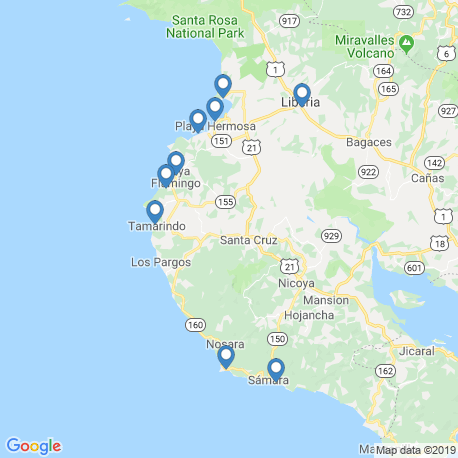 map of fishing charters in Tamarindo