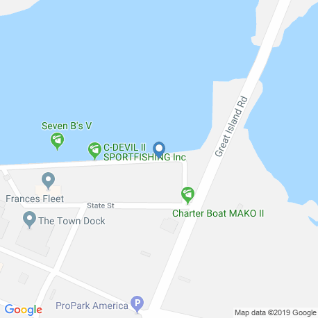 map of fishing charters in Point Judith