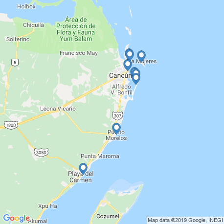 map of fishing charters in Cancún