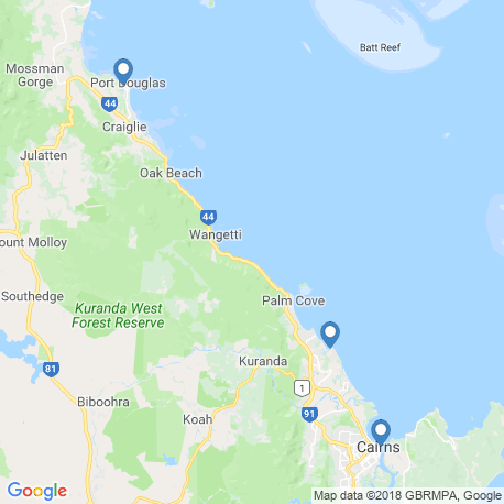 map of fishing charters in Cairns City