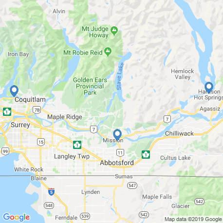 map of fishing charters in Fraser River