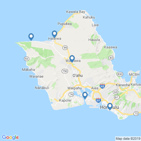 map of fishing charters in Honolulu