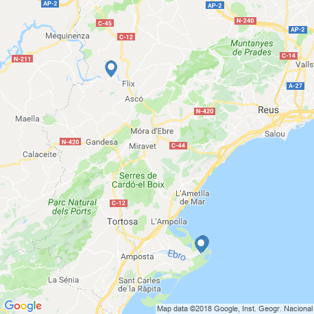 map of fishing charters in Catalunya