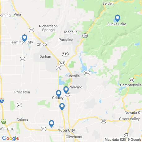 map of fishing charters in Chico