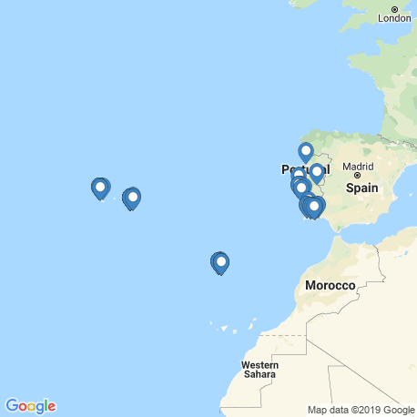 map of fishing charters in Portugal