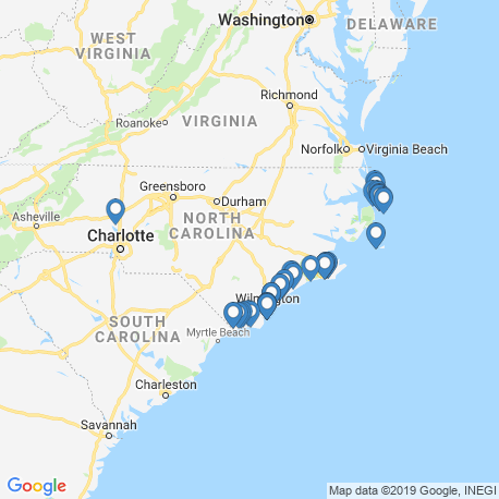 map of fishing charters in North Carolina