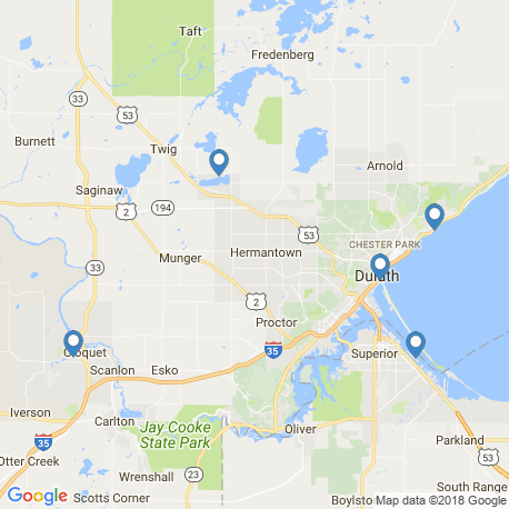 map of fishing charters in Cloquet