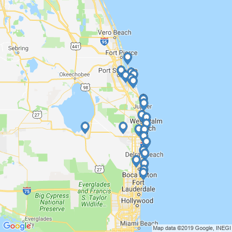 map of fishing charters in Palm Beach Gardens