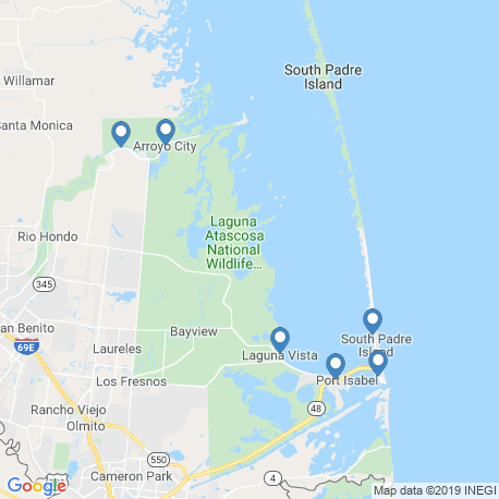 map of fishing charters in Brownsville