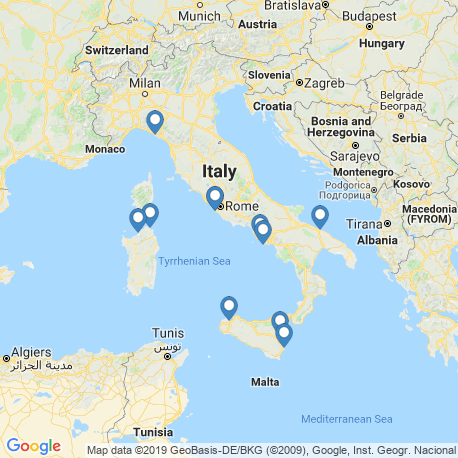 map of fishing charters in Italy