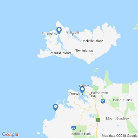 map of fishing charters in Darwin
