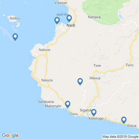 map of fishing charters in Denarau Island