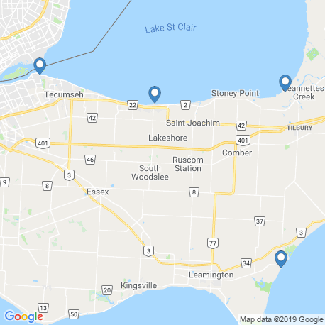 map of fishing charters in Lake St. Clair