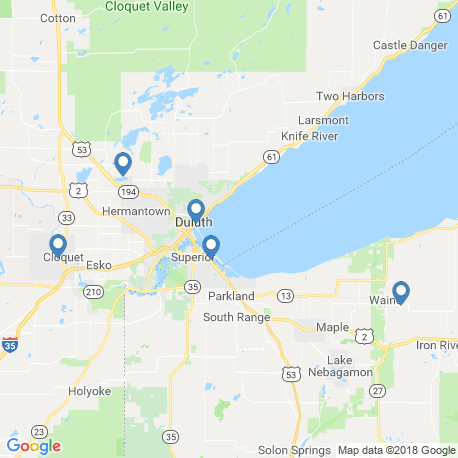 map of fishing charters in Duluth