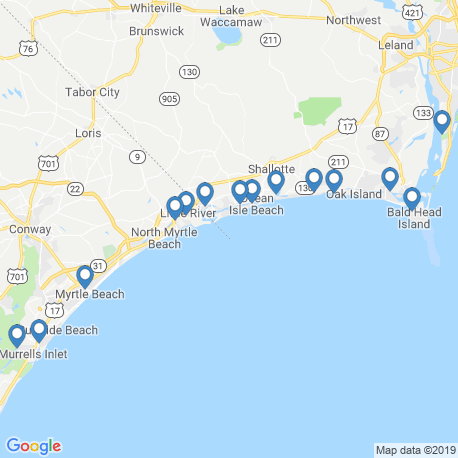 map of fishing charters in Calabash
