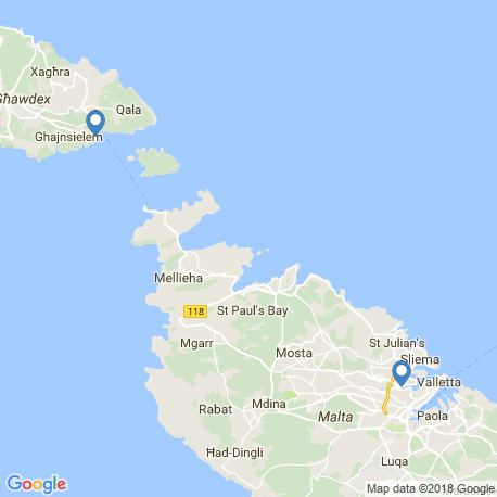 map of fishing charters in Mgarr