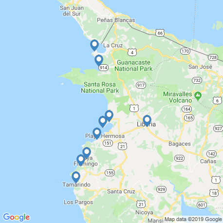 map of fishing charters in Playa Ocotal