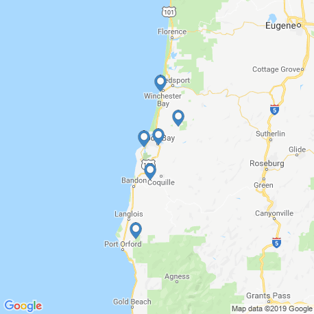 map of fishing charters in Coos Bay