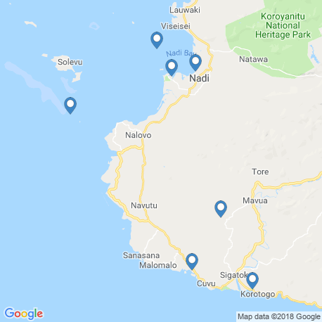 map of fishing charters in Nadi