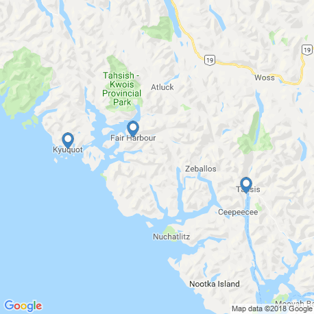 map of fishing charters in Kyuquot