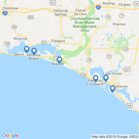 map of fishing charters in Rosemary Beach