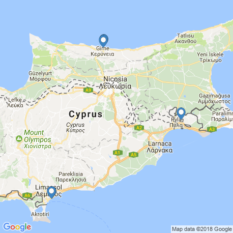 map of fishing charters in Cyprus