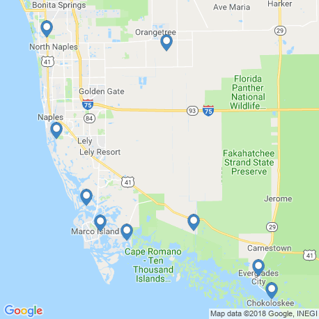 map of fishing charters in Everglades