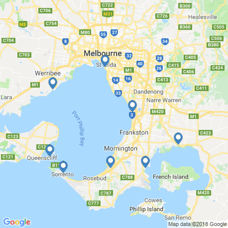 map of fishing charters in Sorrento